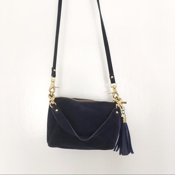 aa752af3c8 Anthropologie Bags | Navy Suede Barrel Crossbody Bag With Tassel ...